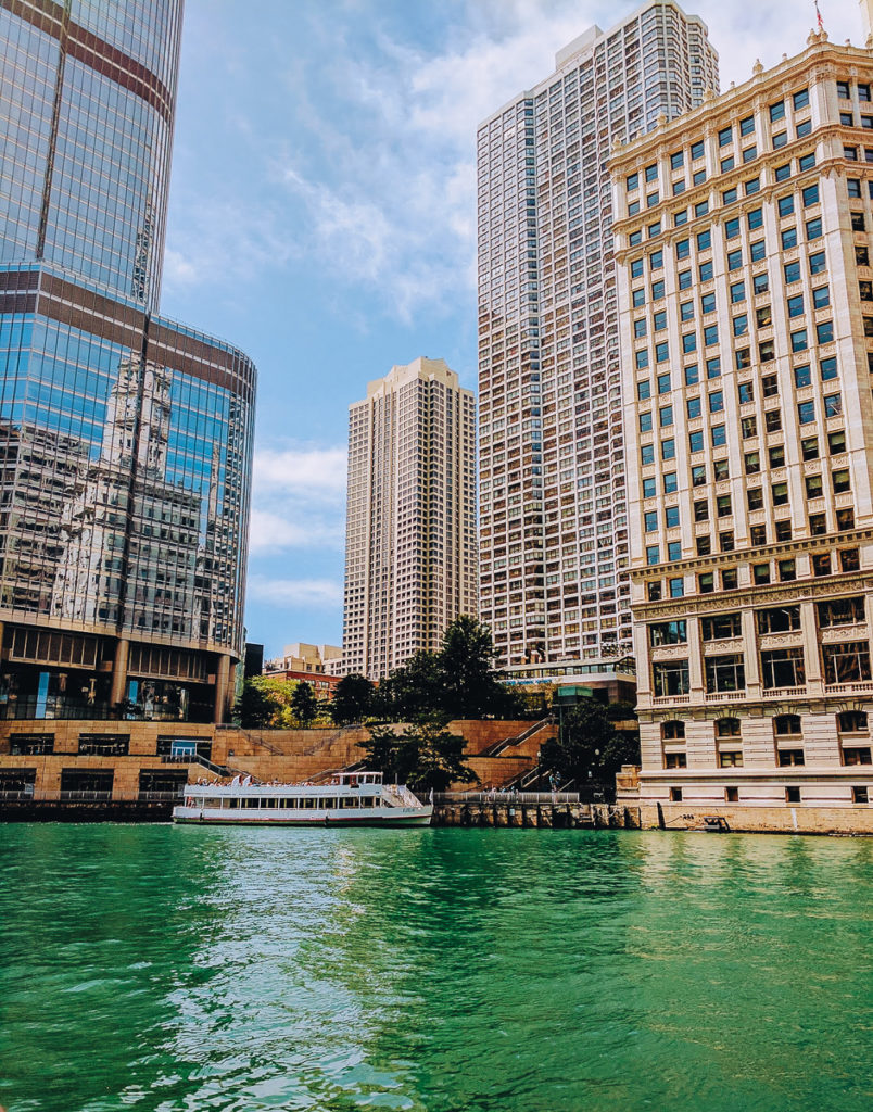 The Chicago River from the riverwalk, one of the best things to do in Chicago in the Spring