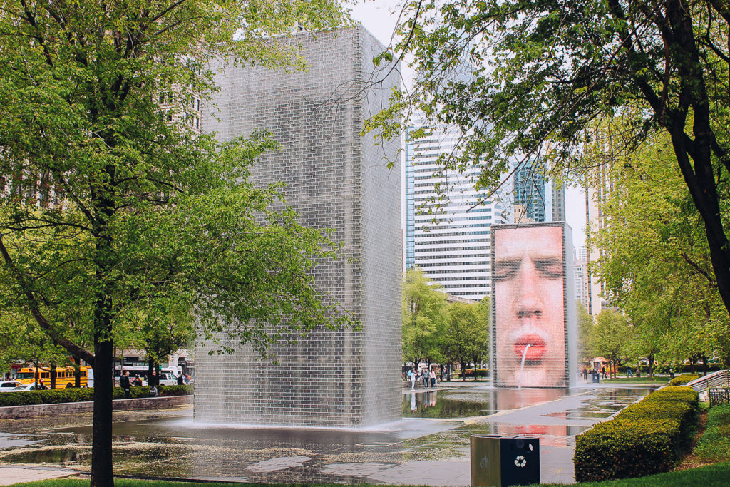 The interactive fountains of Millennium Park