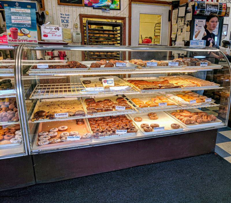 All the donuts in the case at Old Town Donuts Florissant Missouri