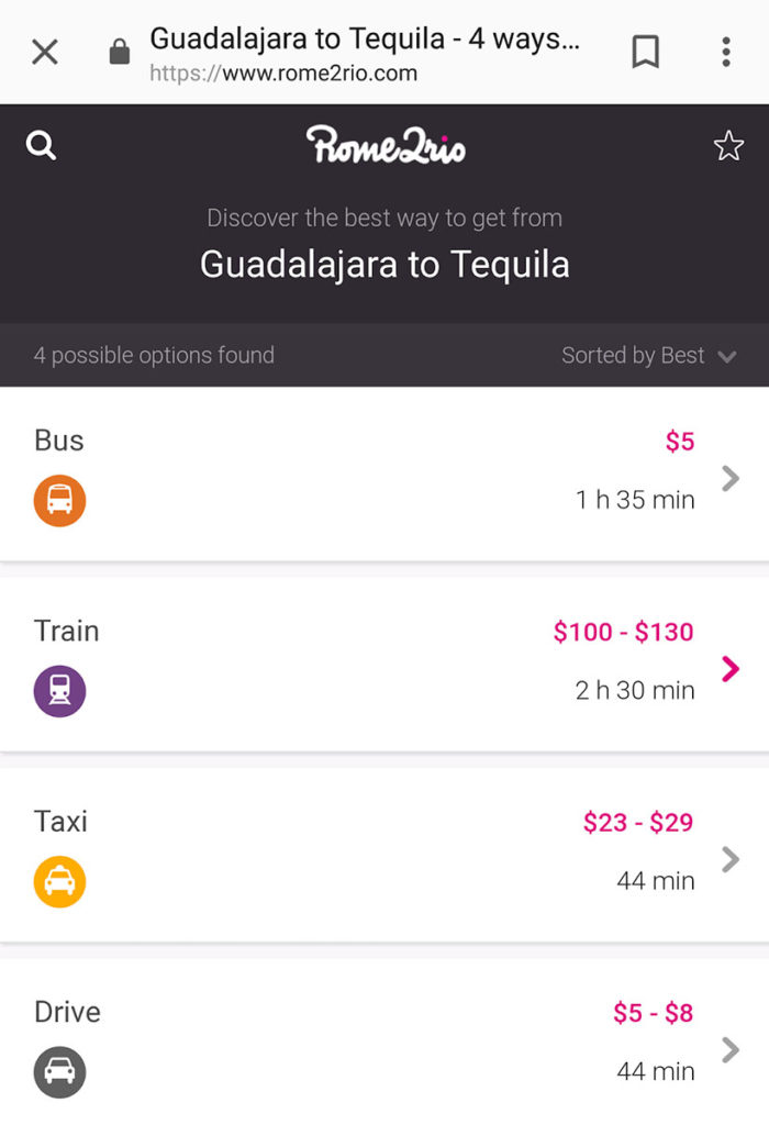 screenshot of the rome to rio results in my post about the best apps for traveling in Mexico