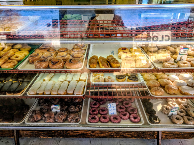 The case full of donuts at Worlds Fair Donuts in St. Louis