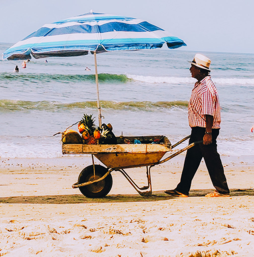 Fruit vendor on the beach in Sayulita