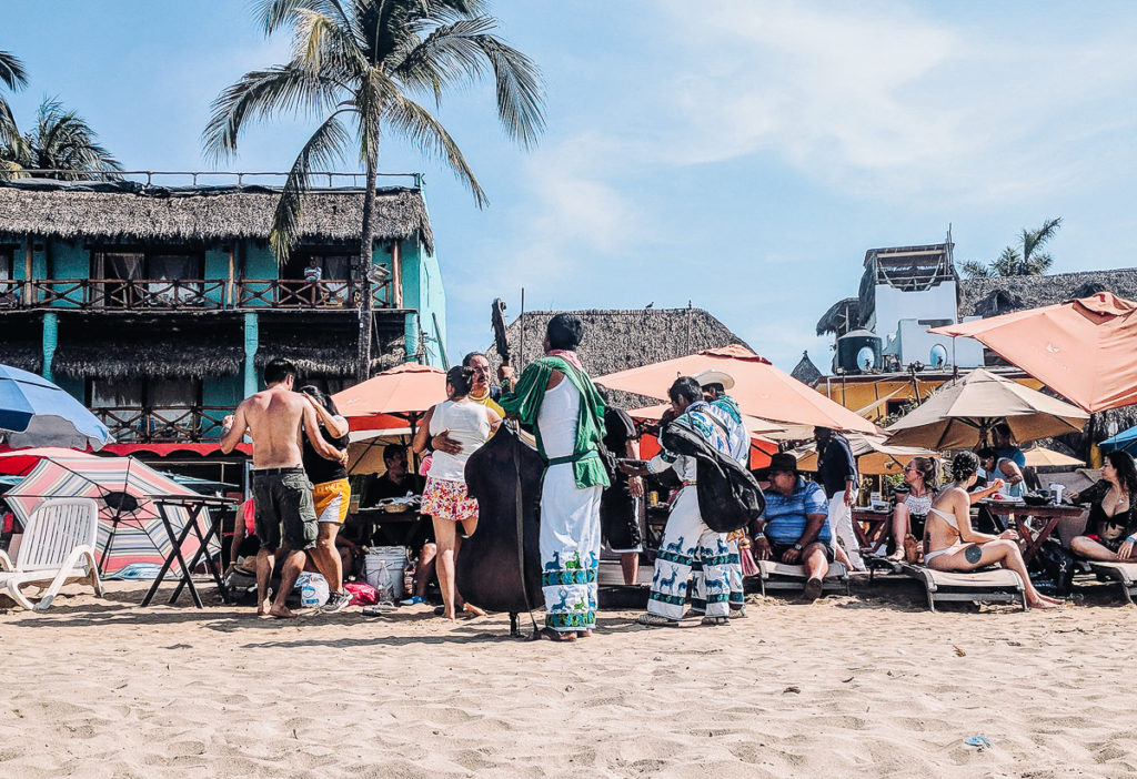 Musicians and dancing on the beach in Sayulita