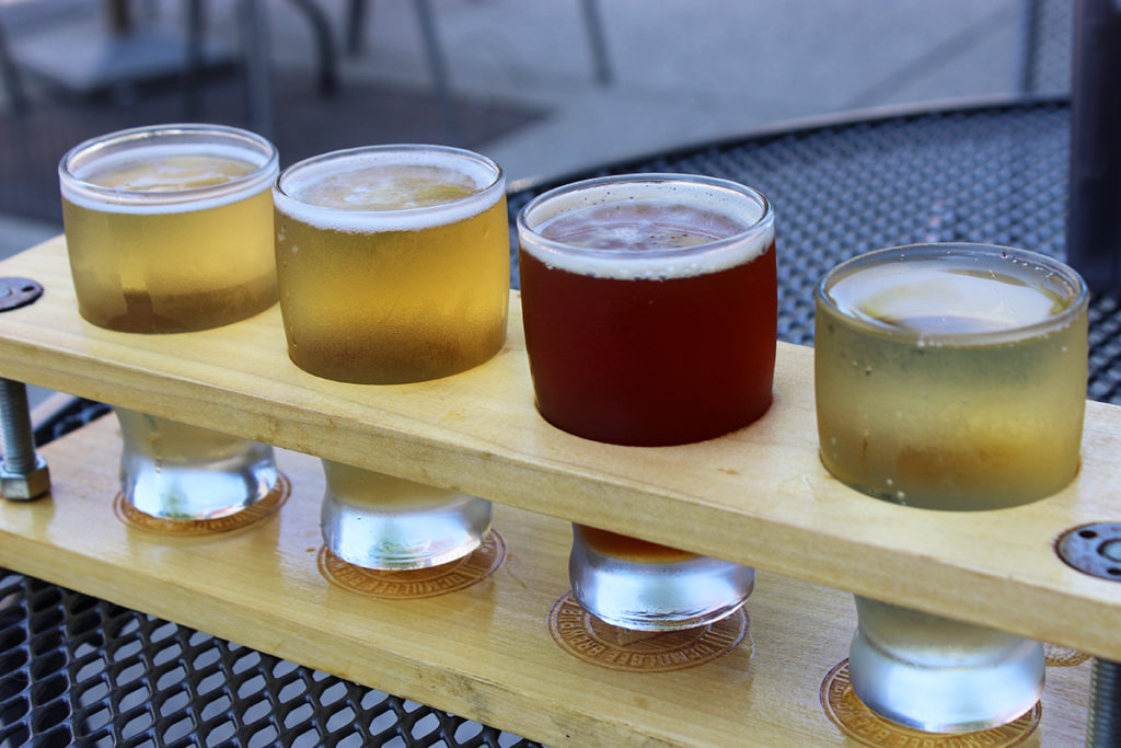 A flight of beer at Ocmulgee Brewpub