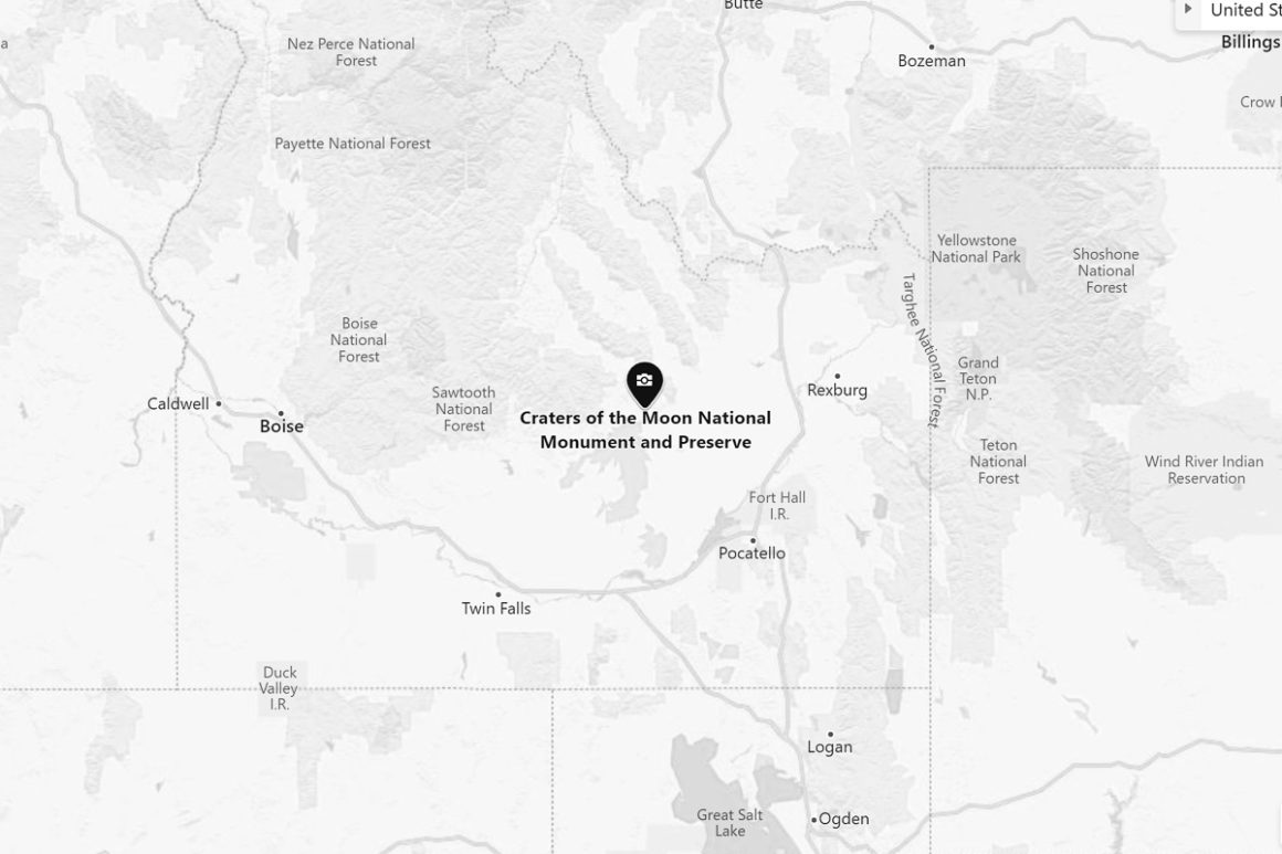 Map of Craters of the Moon National Monument