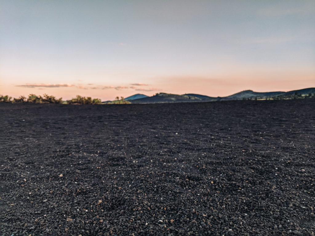 Lava stones at sunset at Craters of the Moon National Monument