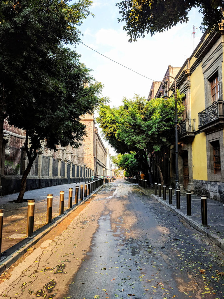 a quiet street in Mexico City