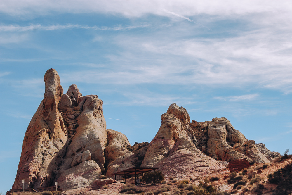 White domes and a picnic area in Valley of Fire state park near Las Vegas