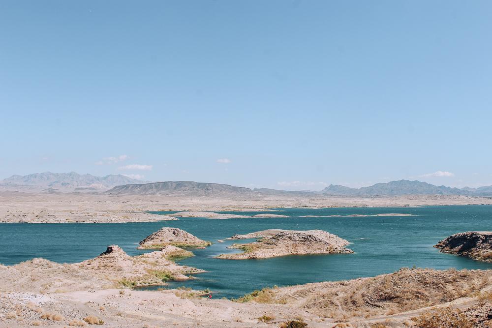 The beautiful blue color of Lake Mead near Las Vegas
