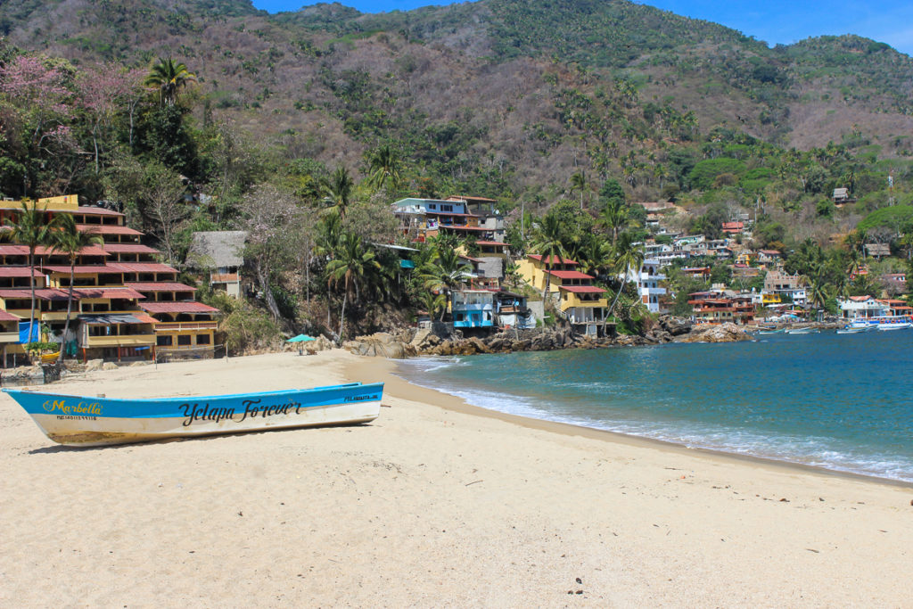 Boat on the beach of Yelapa one of the best day trips from Puerto Vallarta