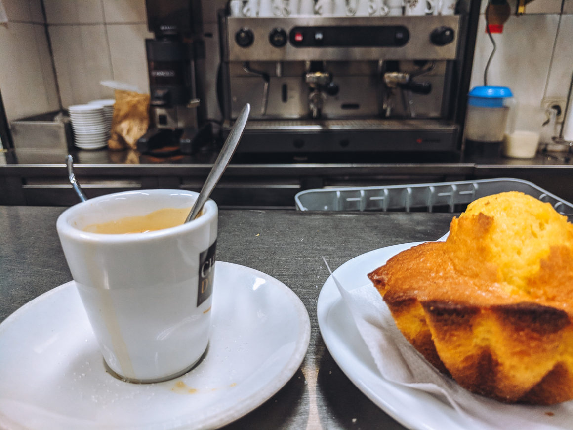 Coffee and a pastry in Lisbon