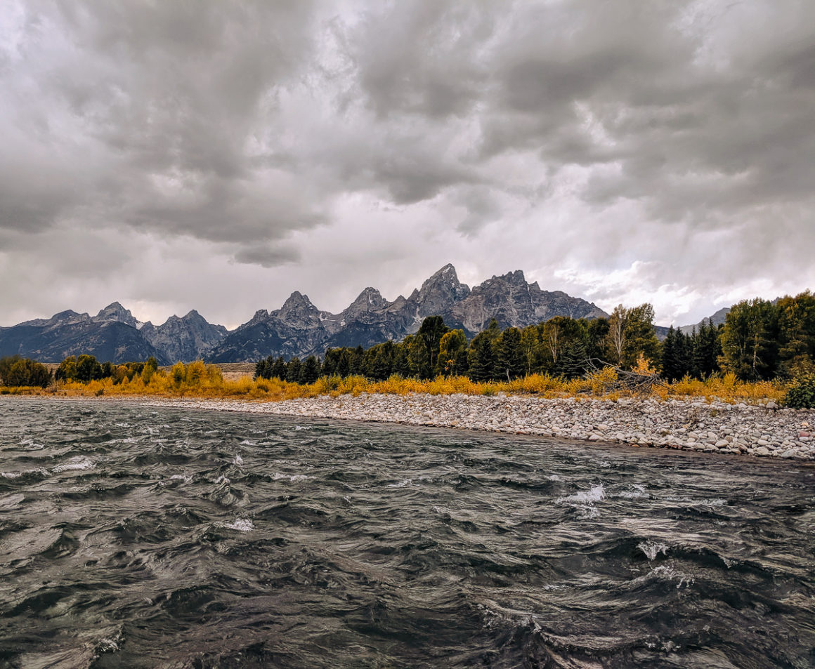 a view of the Tetons from the Snake river