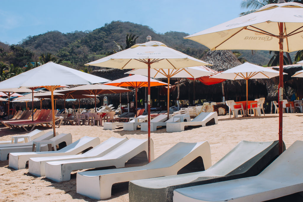 Beach chairs in Yelapa one of the best day trips from Puerto Vallarta