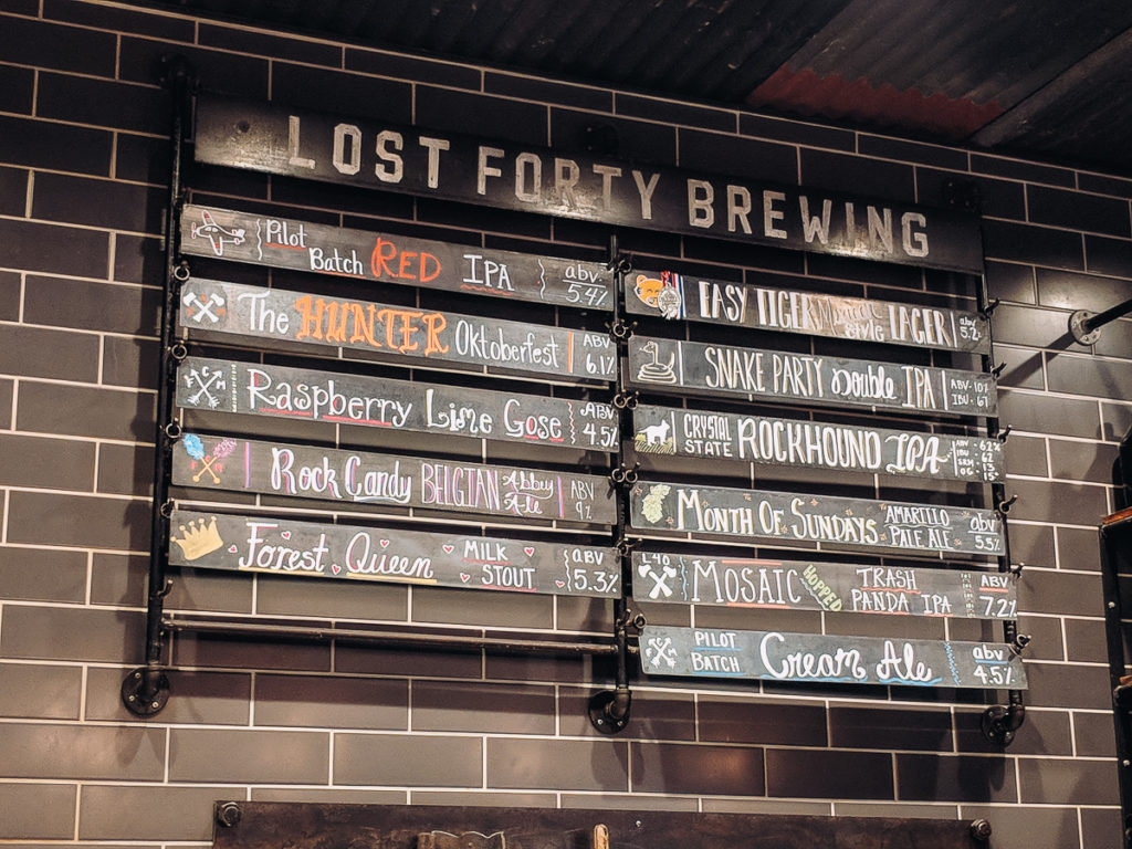 The beer on tap at Lost Forty Brewing on Little Rock's Locally Labeled