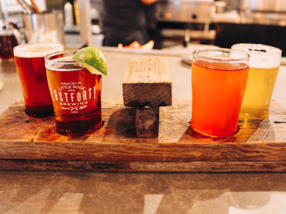 A flight of beer at Lost Forty Brewing Little Rock Arkansas
