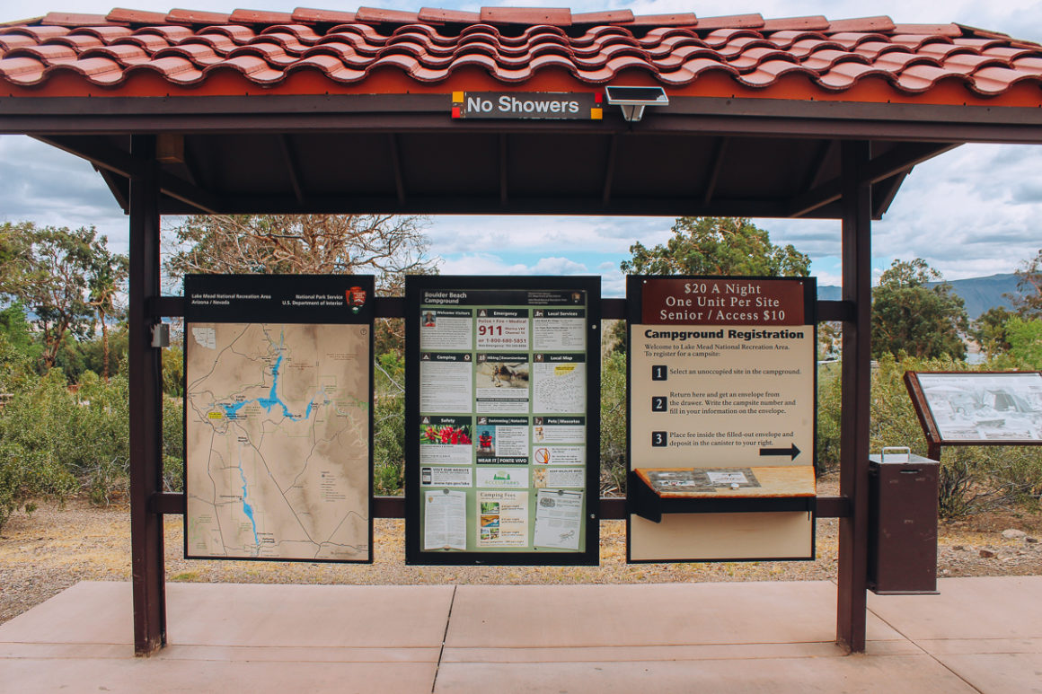 Entrance station sign at Boulder Beach campground Lake Mead- camping in a National Park