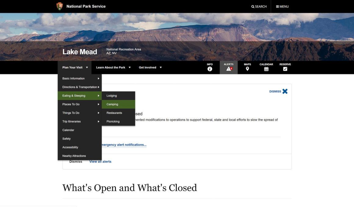 Screenshot of the NPS.gov menu tabs