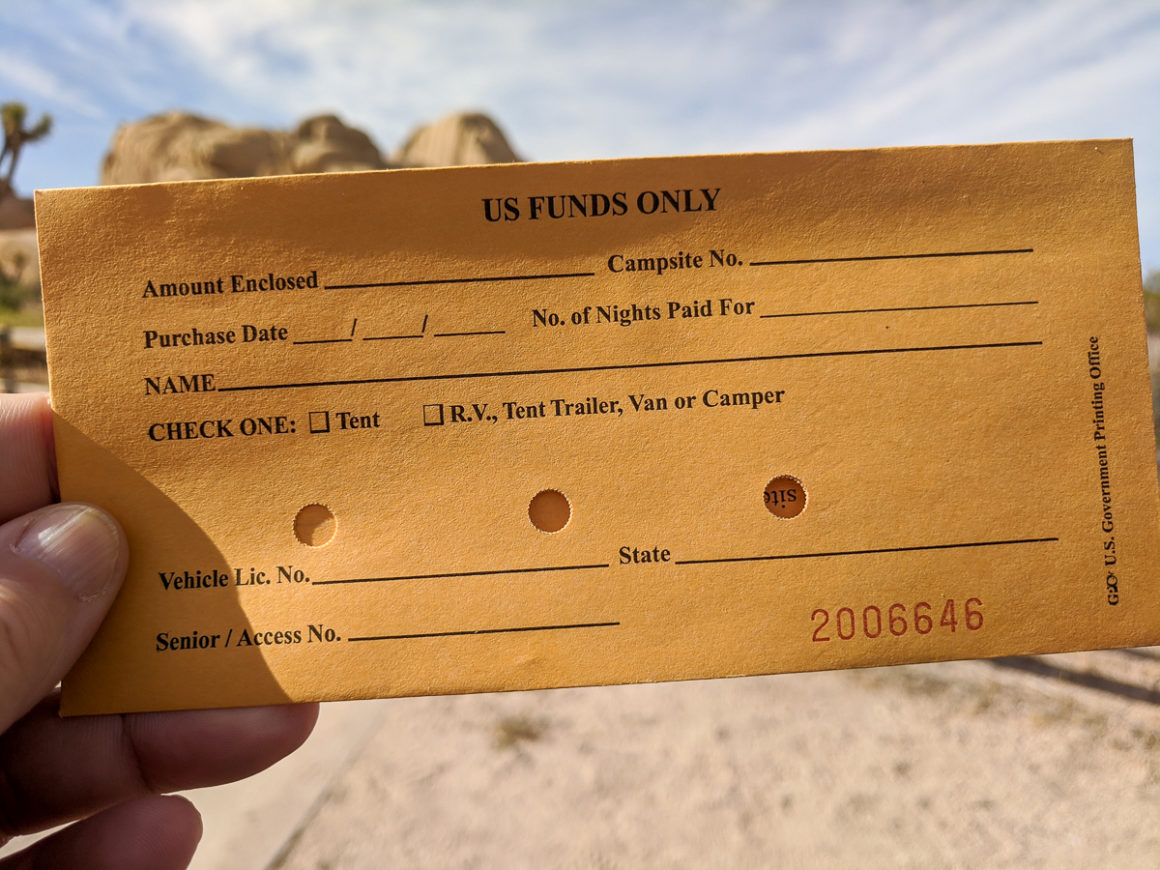 The envelope used for payments in a national park campground