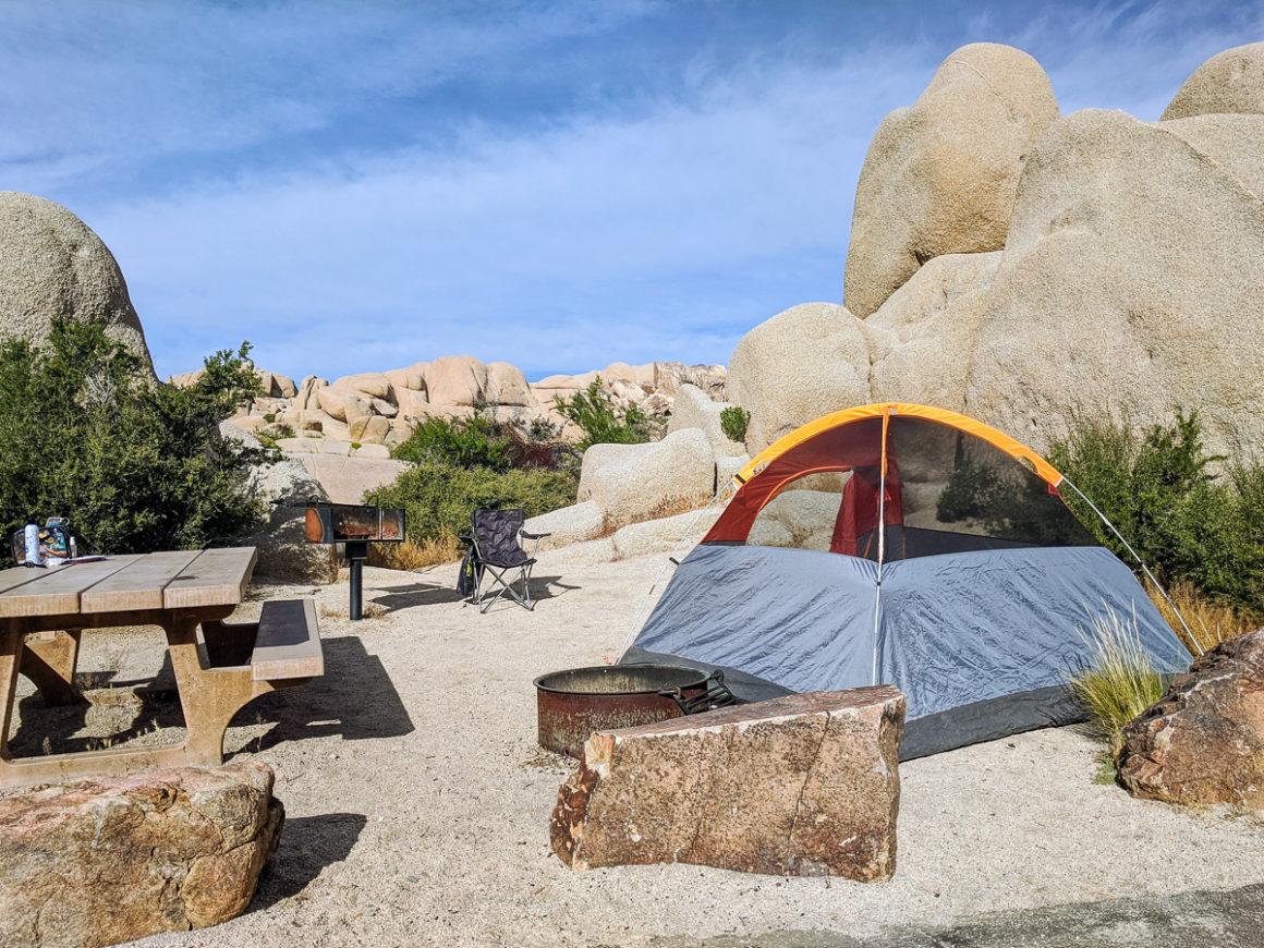 Campsite in Jumbo Rocks Campground Joshua Tree National Park