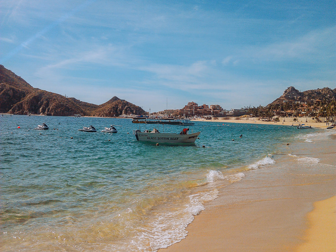 a boat used for tours when traveling to Cabo San Lucas on Medano Beach, Cabo San Lucas Baja
