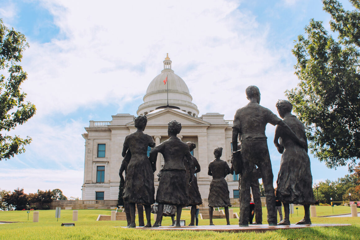 A photo of the children of the Little Rock Nine at the state Capitol