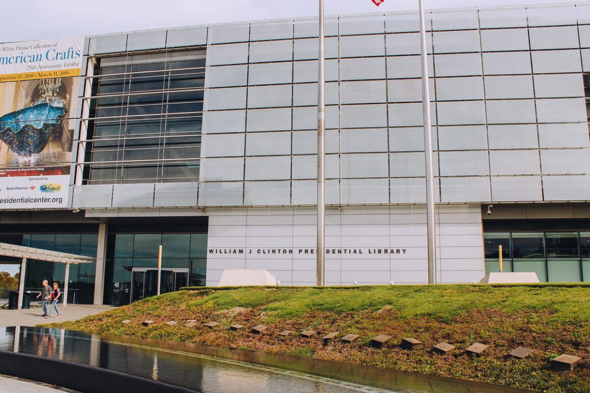 outside of the Clinton Presidential Library in Little Rock, Arkansas
