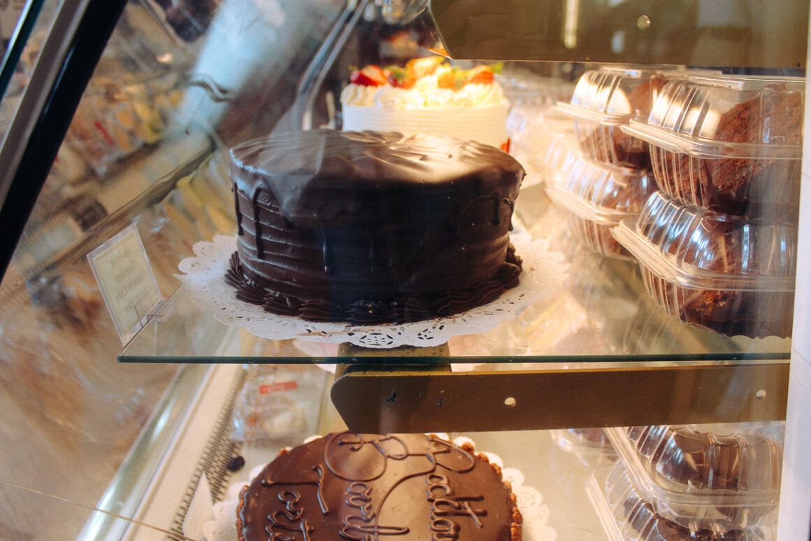 Rows of cakes and goodies at Community Bakery in Little Rock, Arkansas