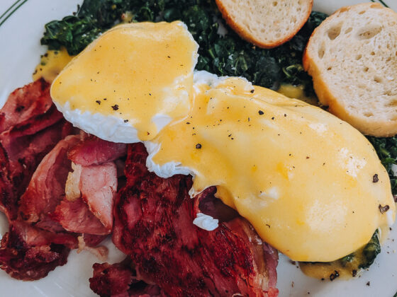 The Root Cafe's version of eggs benedict with collard greens