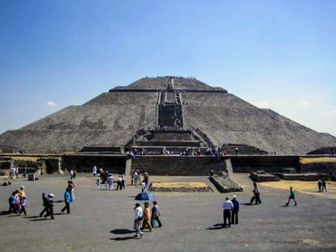 The pyramid of the sun at Teotihuacan near Mexico City in the state of Mexico