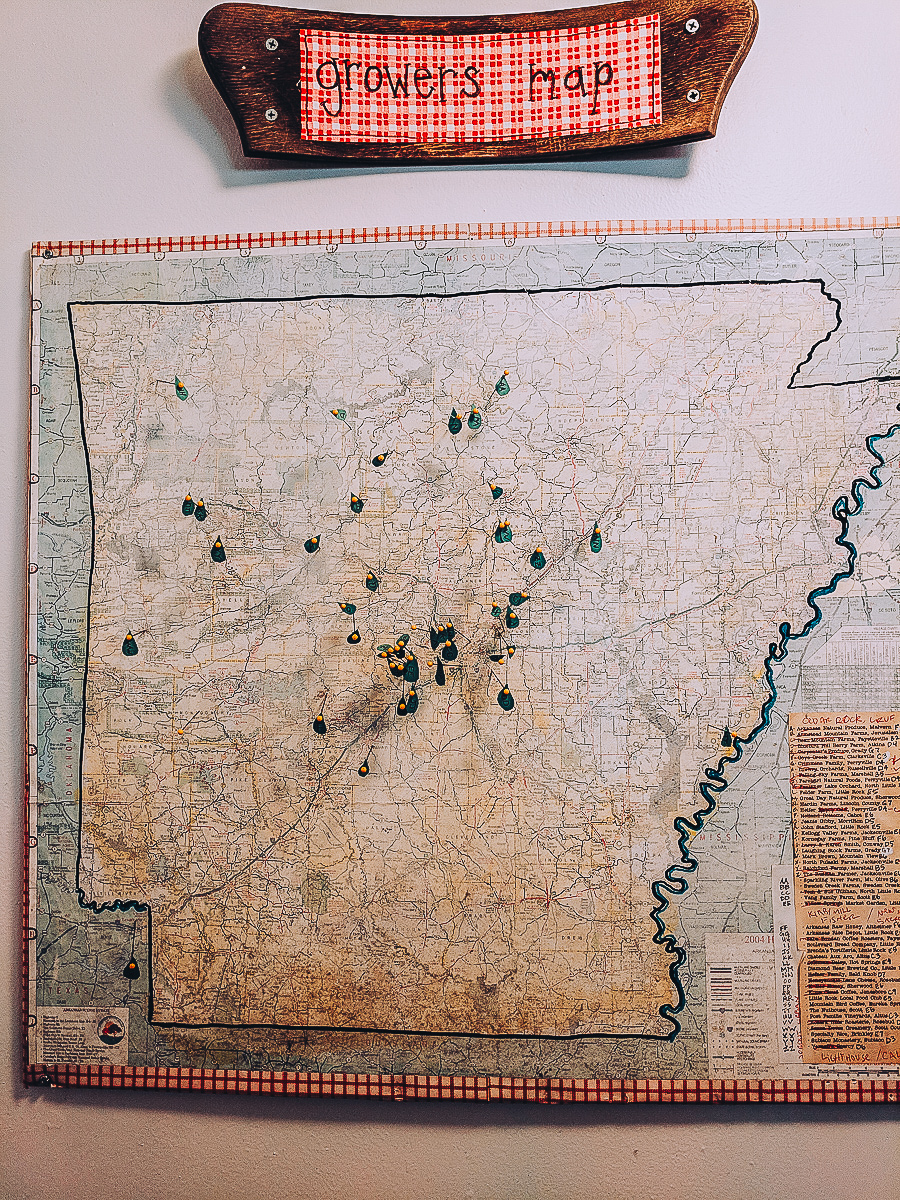 map of Arkansas farms that supply the Root Cafe in Little Rock