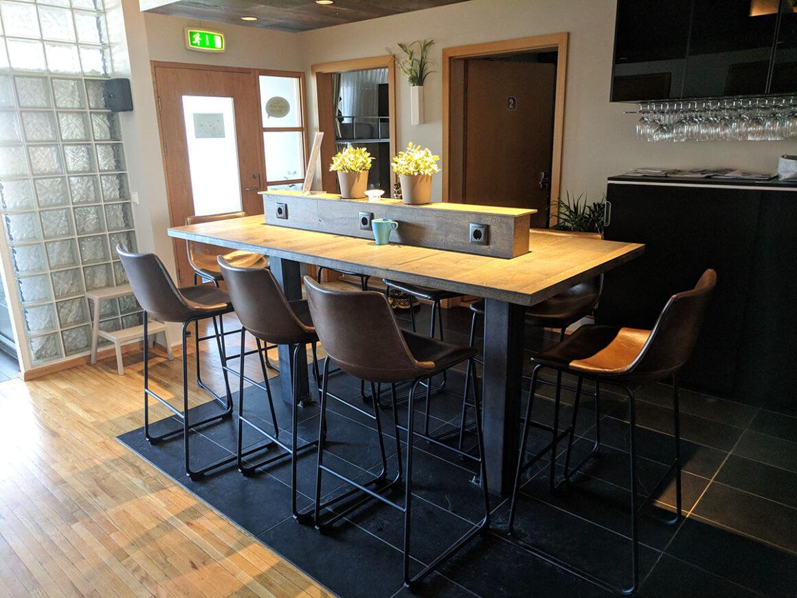 the kitchen at b14 hostel