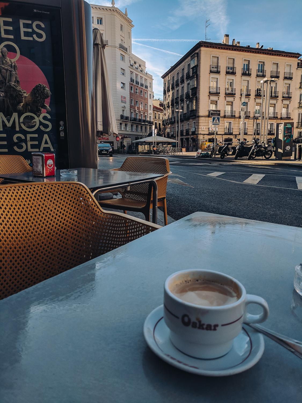 a breakfast alone in Madrid
