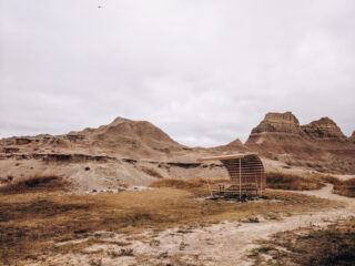 a picnic table at the White River Visitor Center Badlands National Park