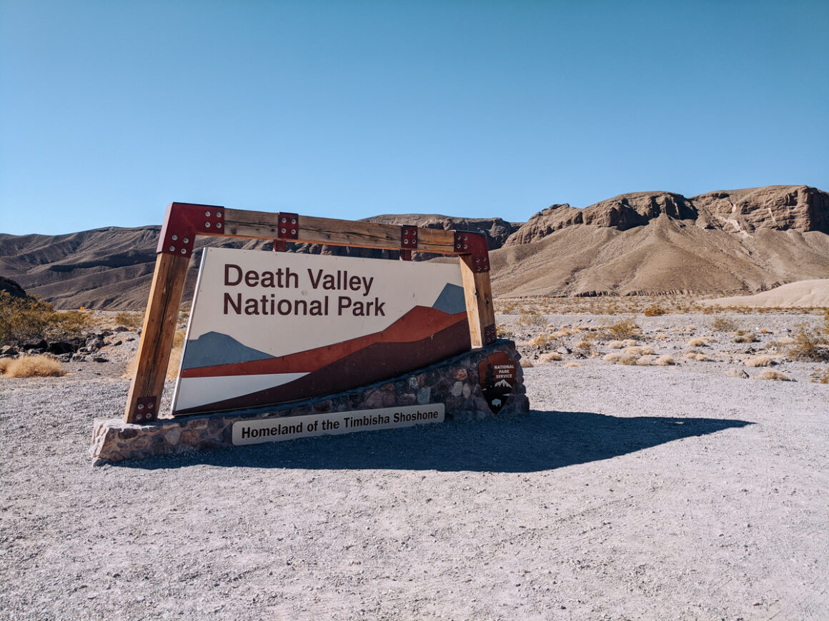 The sign at the entrance of Death Valley National Park