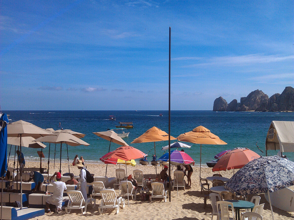 The view from the Milky Way Cafe on Medano Beach Cabo, Mexico, one of the best places to eat when traveling to Cabo San Lucas