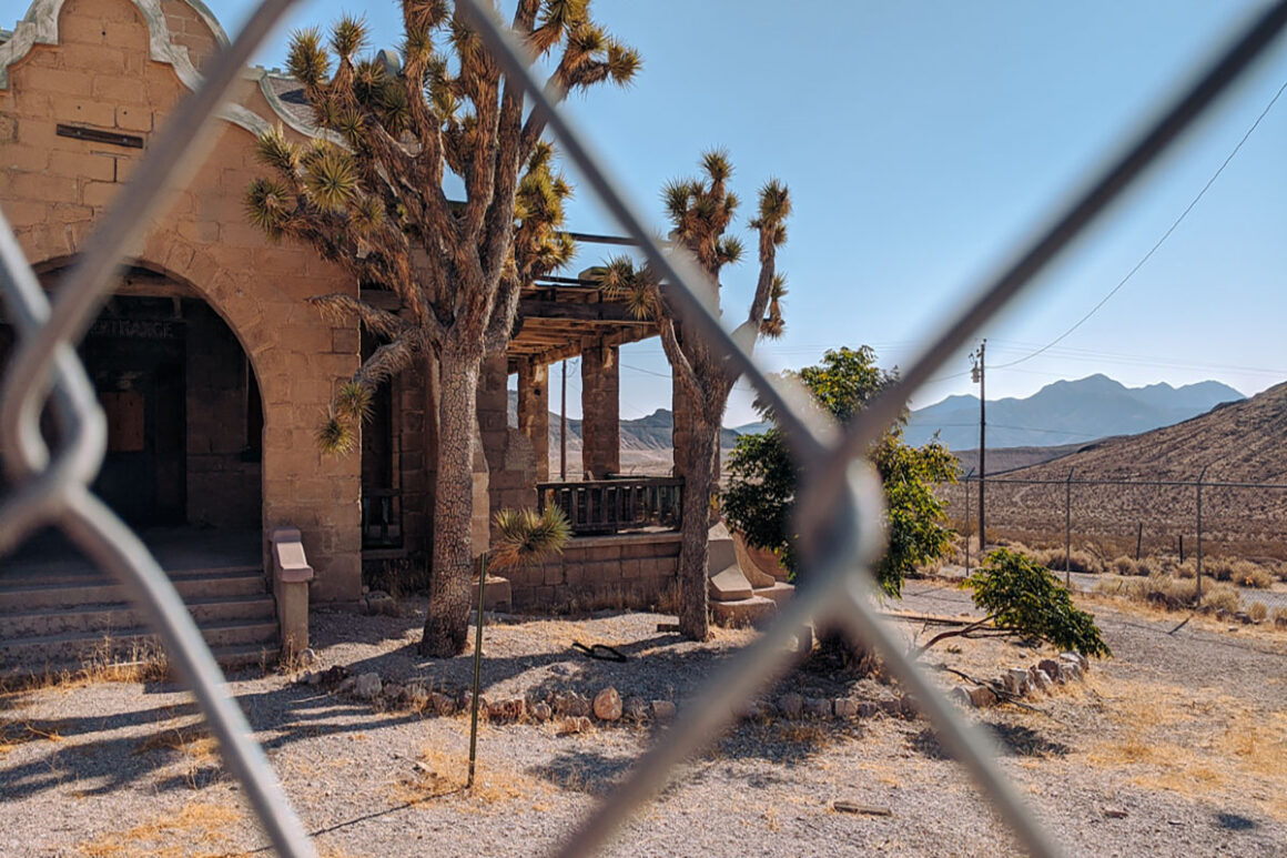 The remains of the train station in Rhyolite ghost town near Beatty Nevada