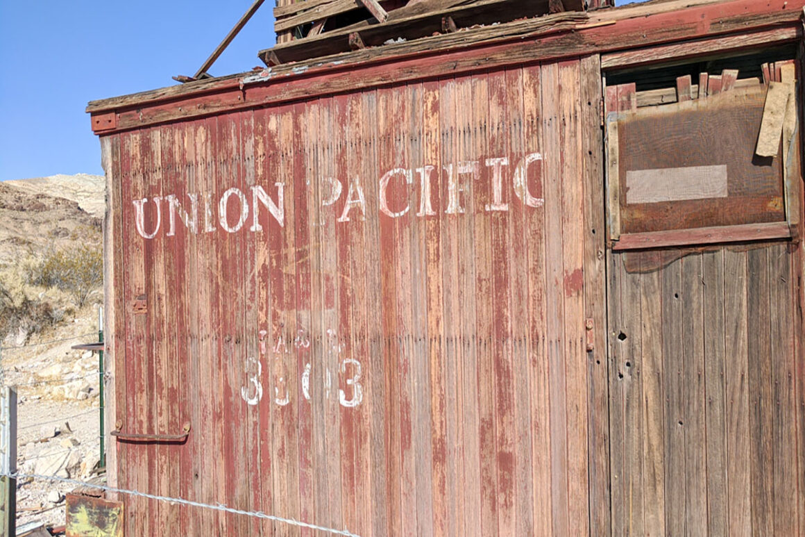 an old train car in Rhyolite ghost town near Beatty, Nevada