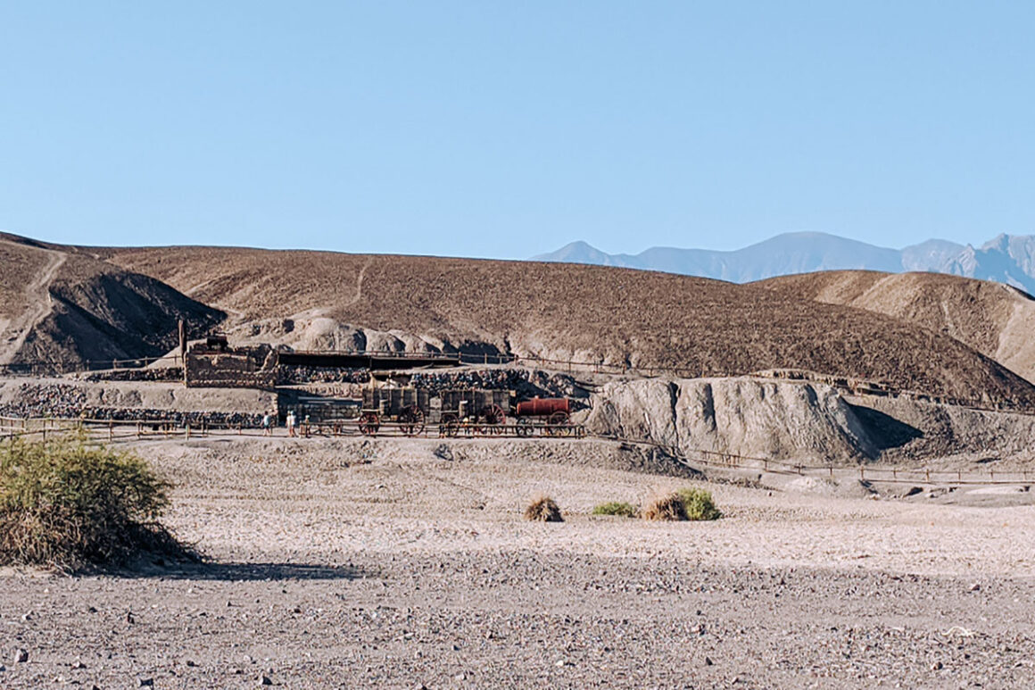 a view of the mule team at harmony Borax Works in Death Valley National Park